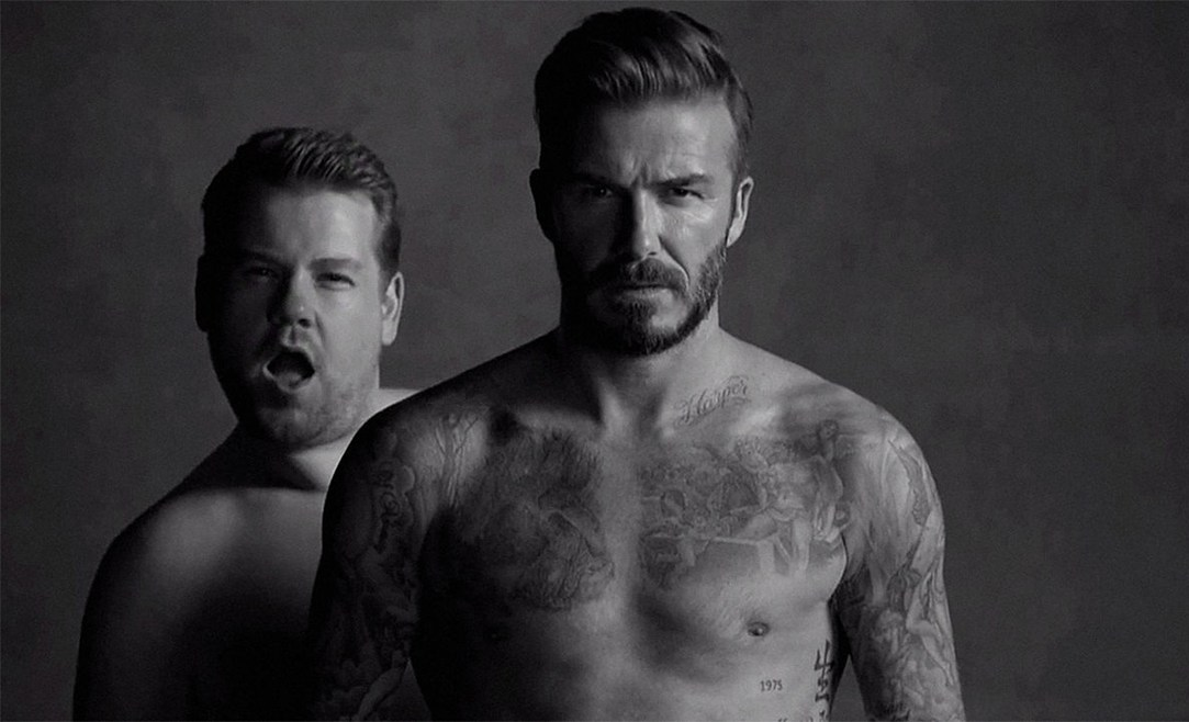 Briefs David Beckham James Corden The Late Late Show Video Spot Parodia Linea Intimo Pancia