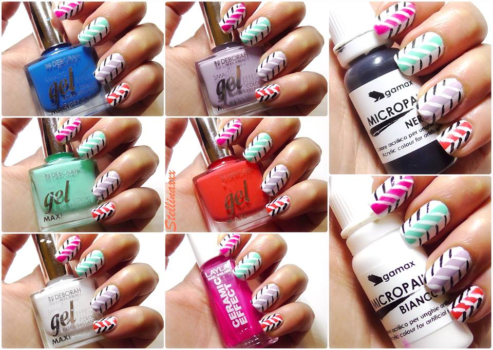 Nail Art Tutorial Zig Zag Multicolor Colori Smalti