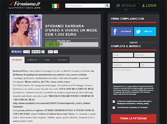 barbara d'urso petizione vivere 1000 euro mensili