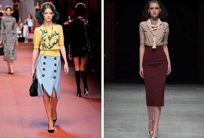 Da sinistra: Dolce e Gabbana S/S 2015; Fourniè S/S 2015.