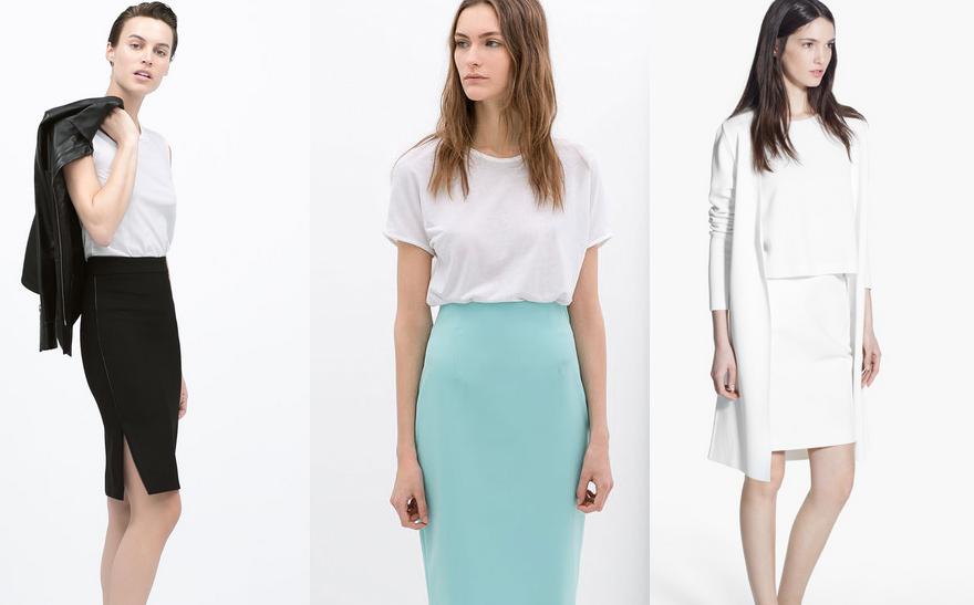 Da inistra: due modelli Zara; Mango.