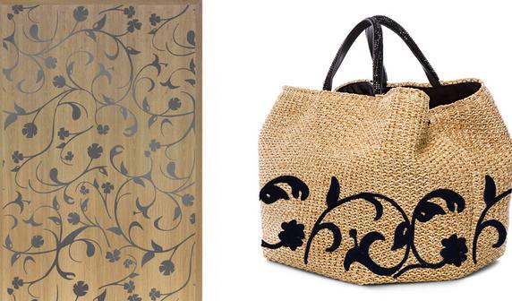 Pavimentazione con pattern floreale de I VASSALLETTI e borsa in rafia di Ermanno Scervino