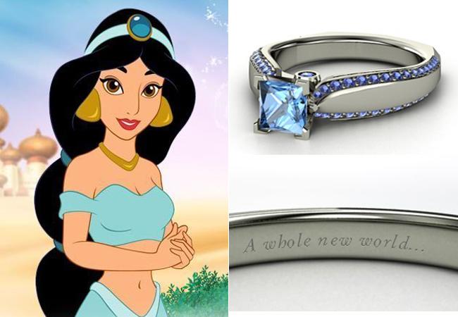 Anelli Principesse Disney Fidanzamento Sogno Jasmine