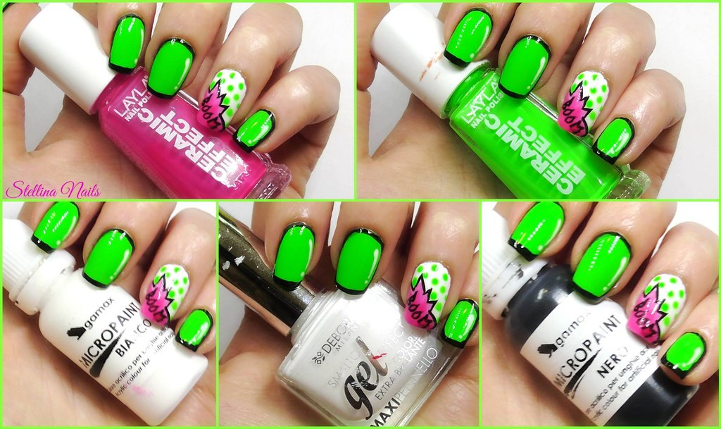 Nail Art Cartoon Fumetto Comic Tutorial Stellina Nails Youtube Verde Fluo
