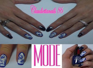 TUTORIAL Nail Art Maiolica Claudia Lani Unghie Trend Bianco Blue