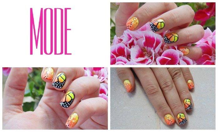Tutorial Nail Art Farfalla Monarca Smalti Fluo Glam Lac Elisa d'Ascenzi Youtube