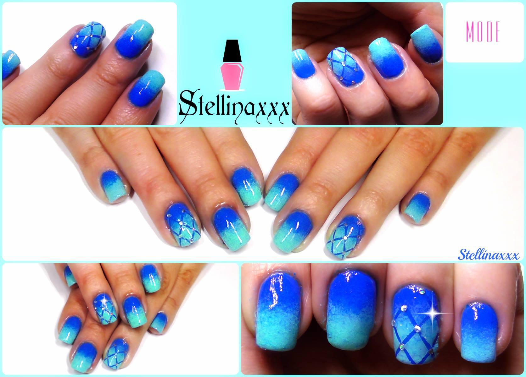 Nail Art Tutorial Sfumata Blu Azzurro Accent Manicure Stellina