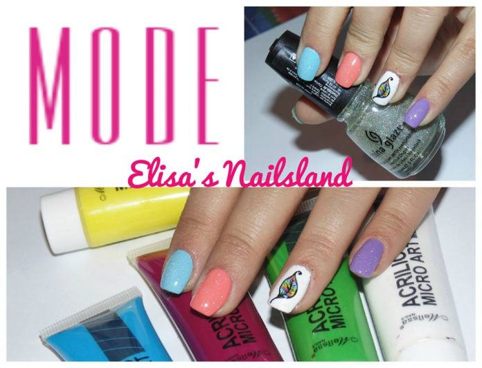 Nail Art Arcobaleno Piuma Colorata Smalti Colori Elisa
