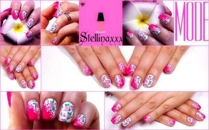 Smalti Nail Art Tutorial Pizzo e Rose Colori Primavera Stellina