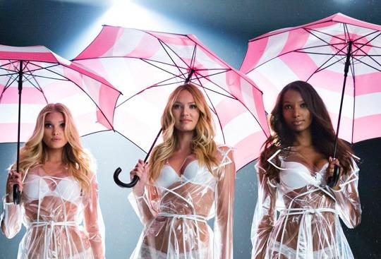 Victoria's Secret Ombrelli Modelle Pioggia Reggiseni Lingerie Slip Omaggio Rosa