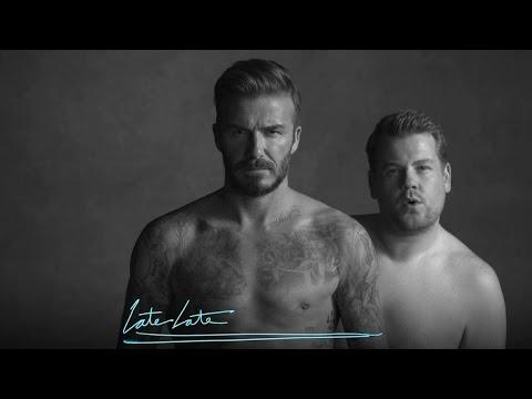 Briefs David Beckham James Corden The Late Late Show Video Spot Parodia Linea Intimo Pancia